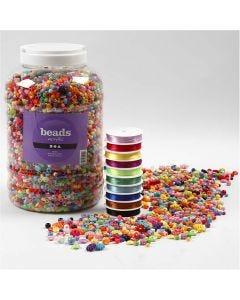 Cuentas de plástico y cuerda elástica, medidas 6-20 mm, medida agujero 1,5-6 mm, 1 paquete