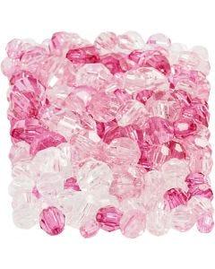Cuentas facetadas, medidas 4-12 mm, medida agujero 1-2,5 mm, pink (081), 250 gr/ 1 paquete