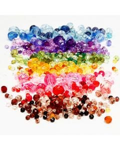 Faceted Bead Mix, dia: 4-12 mm, medida agujero 1-2,5 mm, surtido de colores, 7x250 gr/ 1 paquete