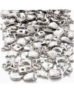 Colgantes de plata, medidas 15-20 mm, medida agujero 3 mm, 80 gr/ 1 paquete