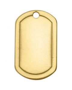 Etiqueta, Cuadrado, medidas 32x20 mm, medida agujero 2,85 mm, grosor 1 mm, latón, 4 ud/ 1 paquete