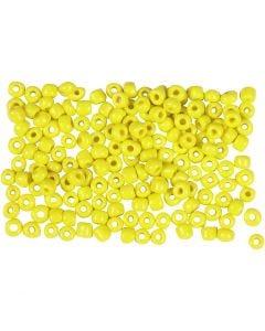 Rocalla cuenta, dia: 3 mm, medidas 8/0 , medida agujero 0,6-1,0 mm, amarillo, 500 gr/ 1 paquete