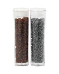 2 cortes, dia: 1,7 mm, medidas 15/0 , medida agujero 0,5 mm, marrón, gris transparente, 2x7 gr/ 1 paquete