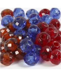 Cuentas facetadas de cristal, medidas 9x14 mm, medida agujero 4 mm, azul, marrón, rojo, 36 ud/ 1 paquete