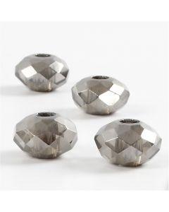 Cuentas facetadas de cristal, medidas 9x14 mm, medida agujero 4 mm, gris oscuro, 4 ud/ 1 paquete