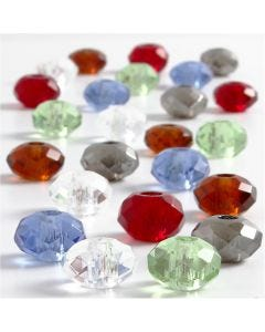 Cuentas de Cristal, medidas 9x14 mm, medida agujero 4 mm, surtido de colores, 24 stdas/ 1 paquete