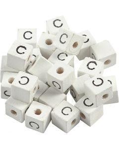 Cuenta cuadrada con letra, C, medidas 8x8 mm, medida agujero 3 mm, blanco, 25 ud/ 1 paquete