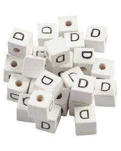 Cuenta cuadrada con letra, D, medidas 8x8 mm, medida agujero 3 mm, blanco, 25 ud/ 1 paquete