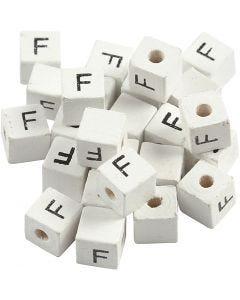 Cuenta cuadrada con letra, F, medidas 8x8 mm, medida agujero 3 mm, blanco, 25 ud/ 1 paquete