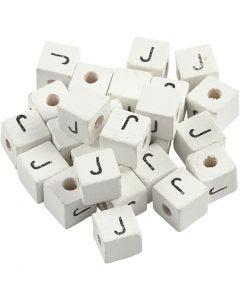 Cuenta cuadrada con letra, J, medidas 8x8 mm, medida agujero 3 mm, blanco, 25 ud/ 1 paquete