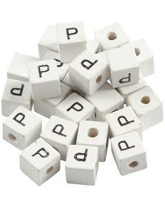 Cuenta cuadrada con letra, P, medidas 8x8 mm, medida agujero 3 mm, blanco, 25 ud/ 1 paquete
