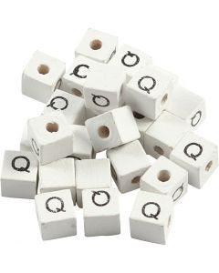 Cuenta cuadrada con letra, Q, medidas 8x8 mm, medida agujero 3 mm, blanco, 25 ud/ 1 paquete