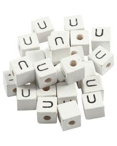 Cuenta cuadrada con letra, U, medidas 8x8 mm, medida agujero 3 mm, blanco, 25 ud/ 1 paquete