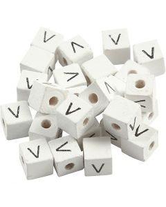 Cuenta cuadrada con letra, V, medidas 8x8 mm, medida agujero 3 mm, blanco, 25 ud/ 1 paquete