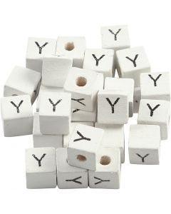 Cuenta cuadrada con letra, Y, medidas 8x8 mm, medida agujero 3 mm, blanco, 25 ud/ 1 paquete