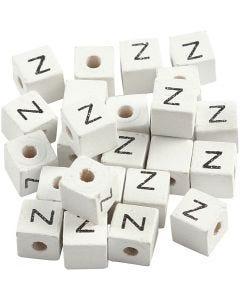 Cuenta cuadrada con letra, Z, medidas 8x8 mm, medida agujero 3 mm, blanco, 25 ud/ 1 paquete