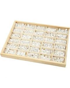 Cuenta cuadrada con letra, A-Z, &, #, ?, medidas 8x8 mm, medida agujero 3 mm, blanco, 750 stdas/ 1 paquete