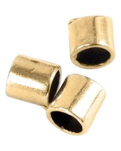 Cuenta en forma tubular, medidas 2x2 mm, medida agujero 1,4 mm, dorado/plateado, 80 ud/ 1 paquete