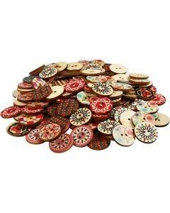 Botones de madera, dia: 20 mm, 180 ud/ 1 paquete