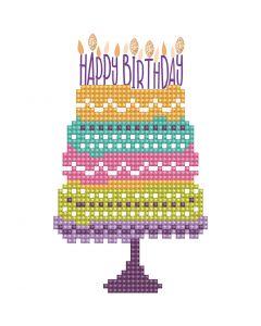 Diamond Dotz, Pastel de cumpleaños, medida tarjeta 12,6x17,7 cm, medida sobre 13,6x18,6 cm, 1 paquete