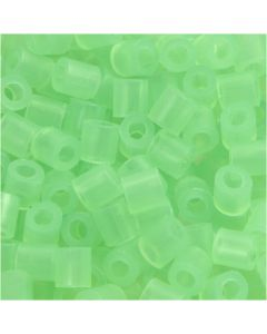 Fuse Beads, medidas 5x5 mm, medida agujero 2,5 mm, medium, verde neón (32237), 1100 ud/ 1 paquete