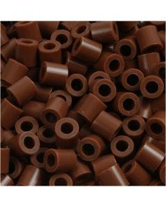 Fuse Beads, medidas 5x5 mm, medida agujero 2,5 mm, medium, chocolate (32249), 1100 ud/ 1 paquete