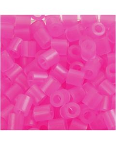 Fuse Beads, medidas 5x5 mm, medida agujero 2,5 mm, medium, rosa neón (32257), 1100 ud/ 1 paquete