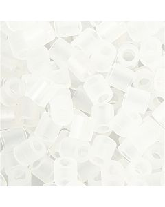 Fuse Beads, medidas 5x5 mm, medida agujero 2,5 mm, medium, transparente (32264), 1100 ud/ 1 paquete