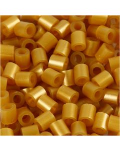 Fuse Beads, medidas 5x5 mm, medida agujero 2,5 mm, medium, dorado (32263), 1100 ud/ 1 paquete