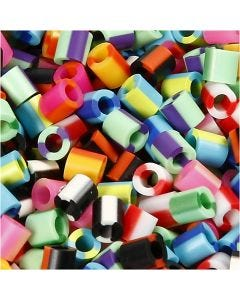 Fuse Beads, medidas 5x5 mm, medida agujero 2,5 mm, medium, raya, 1100 stdas/ 1 paquete