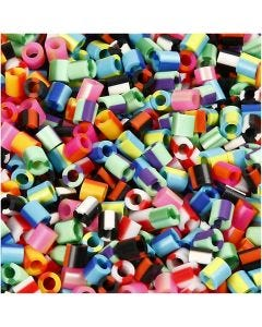 Fuse Beads, medidas 5x5 mm, medida agujero 2,5 mm, medium, raya, 10000 stdas/ 1 paquete