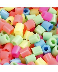 Fuse Beads, medidas 5x5 mm, medida agujero 2,5 mm, medium, colores pastel, 30000 stdas/ 1 paquete