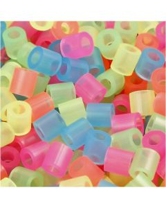 Fuse Beads, medidas 5x5 mm, medida agujero 2,5 mm, medium, colores neón, 30000 stdas/ 1 paquete