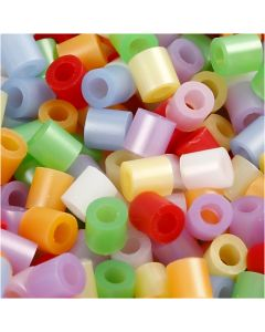 Fuse Beads, medidas 5x5 mm, medida agujero 2,5 mm, medium, madre perla, 30000 stdas/ 1 paquete