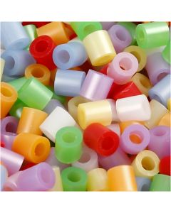Fuse Beads, medidas 5x5 mm, medida agujero 2,5 mm, medium, madre perla, 5000 stdas/ 1 paquete