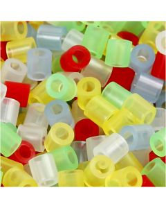 Fuse Beads, medidas 5x5 mm, medida agujero 2,5 mm, medium, colores transparentes, 30000 stdas/ 1 paquete