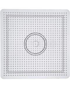 Base con clavijas, medidas 14,5x14,5 cm, transparente, 1 ud