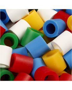Fuse Beads, medidas 10x10 mm, medida agujero 5,5 mm, JUMBO, colores estándar, 2450 stdas/ 1 paquete