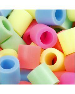 Fuse Beads, medidas 10x10 mm, medida agujero 5,5 mm, JUMBO, colores pastel, 2450 stdas/ 1 paquete