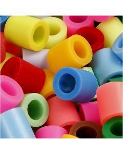 Fuse Beads, medidas 10x10 mm, medida agujero 5,5 mm, JUMBO, surtido de colores, 1000 stdas/ 1 paquete