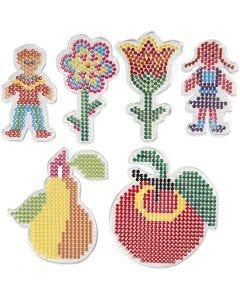 Chinchetas/marcadores, 2 flores, chica, chico, manzana y pera, medidas 8,5x14-14x16 cm, 6 ud/ 1 paquete