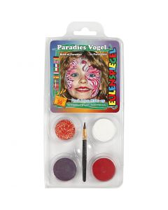 Pintura facial al agua - Motif Set, pájaro del paraiso, surtido de colores, 1 set