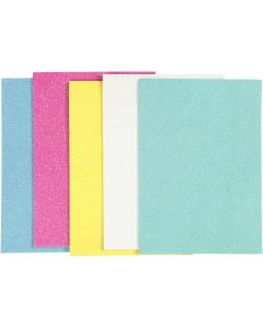 Hojas de goma EVA, A5, 148x210 mm, grosor 2 mm, surtido de colores, 5 hoja/ 1 paquete