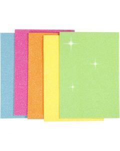 Hojas de goma EVA, A5, 150x210 mm, grosor 2 mm, surtido de colores, 5 hoja/ 1 paquete