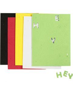 Hoja de goma EVA , medidas 2-2,3 cm, surtido de colores, 5 hoja/ 1 paquete
