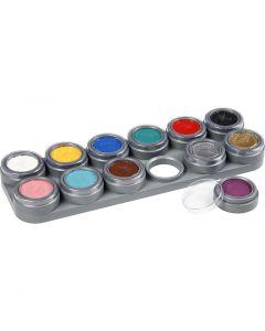 Paleta de pintura facial a base de agua, surtido de colores, 12x2,5 ml/ 1 ud