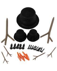 Sombreros, narices y ramas, medidas 2,3-7 cm, 3 set/ 1 paquete