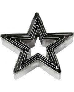 Cortador de galletas, Estrella, medidas 8 cm, 5 ud/ 1 paquete