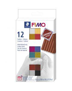 FIMO® Leather Effect, surtido de colores, 12x25 gr/ 1 paquete