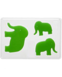 Molde decorativo , Elefante, A: 6+8+10 cm, medidas 14,9x22 cm, 1 ud